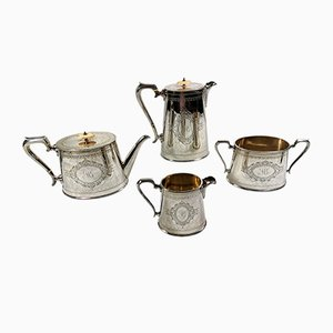 Victorian Silver-Plated Tea & Coffee Set from George Shadford Lee & Henry Wigfull, Set of 4