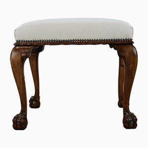 Vintage Walnut Footstool with Claw Feet