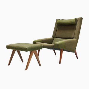 Lounge Chair and Nr. 50 Stool Set by Illum Wikkelsø, 1950s, Set of 2