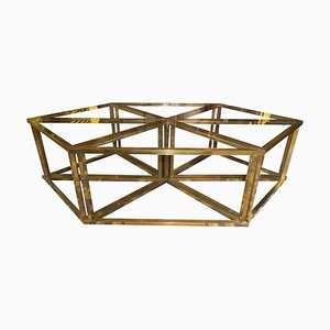 Brass and Crystal Modular Coffee Tables by Romeo Rega, 1970s, Set of 6
