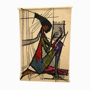 Vintage The Harp Player Tapestry Wall Carpet, 1970s