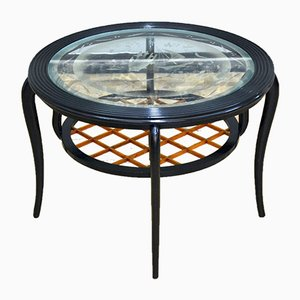 Round Wood and Glass Coffee Table in the Style of Paolo Buffa, Italy, 1950s