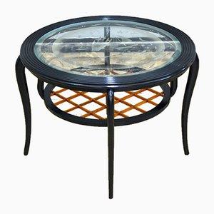Runder Couchtisch aus Holz & Glas im Stil von Paolo Buffa, Italien, 1950er