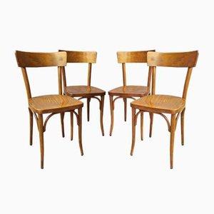 Chaises de Bistro Antique de Thonet, Set de 4