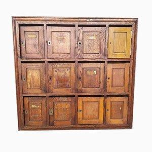Antique Oak Letterboxes Cabinet