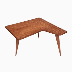 Italian Cherrywood Veneer Coffee Table Attributed to Gio Ponti, 1950s