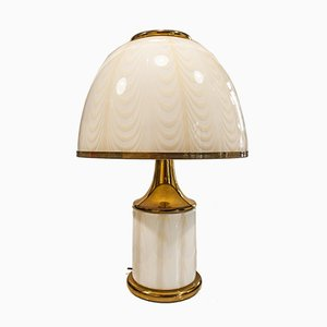 Italian Murano Glass and Brass Table Lamp, 1970s