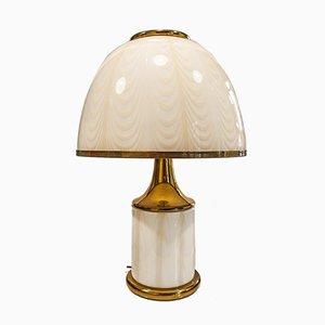 Lampada da tavolo in vetro di Murano e ottone, Italia, anni '70