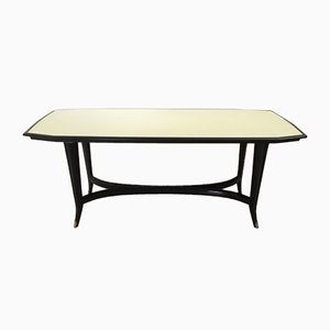 Italian Ebonized Beech Dining Table with Black-Painted Glass Top, 1950s