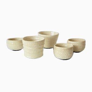 Craquelé Ceramic Bowls, 1980s, Set of 5