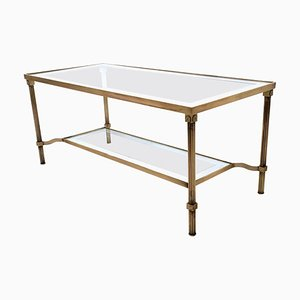 Italian Brass and Glass Two-Tier Coffee Table, 1950s