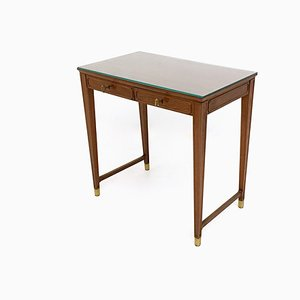 Mahogany and Crystal Bedroom Writing Desk in the Style of Gio Ponti, Italy, 1950s