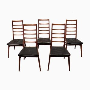 Mid-Century Scandinavian Teak Dining Chairs with Ladderback Backrests, Set of 5