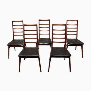 Skandinavische Mid-Century Teak Esszimmerstühle mit Rückenlehnen in Rücken-Optik, 5er Set