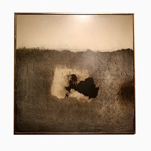 Ink on Wood Panel with Gold Leaf Frame by Guy Jaspar, 1970s