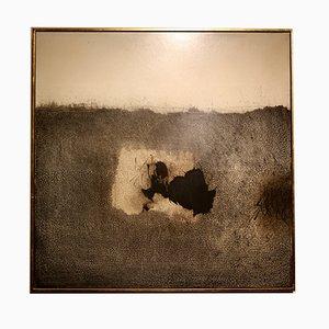 Tinte auf Holzplatte mit Blattgold Rahmen von Guy Jaspar, 1970er