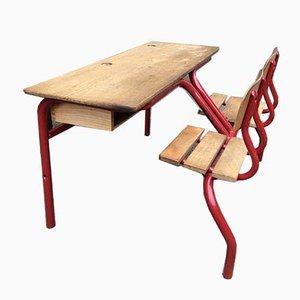 Französische Schulbank mit Schreibtisch, 1960er