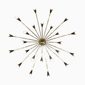 Großer italienischer Messing Sputnik Kronleuchter, 1950er