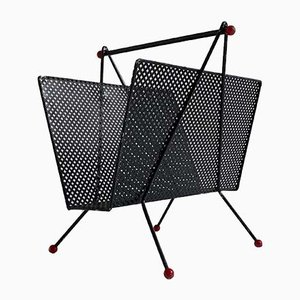 Mid-Century French Metal Magazine Rack in the Style of Mategot & Pilastro, 1950s