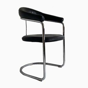 Mid-Century Bauhaus Style Leather and Chrome Cantilever Chair