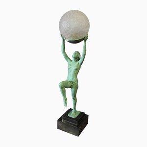 Skulpturale Art Deco Lampe von Max le Verrier, 1930er