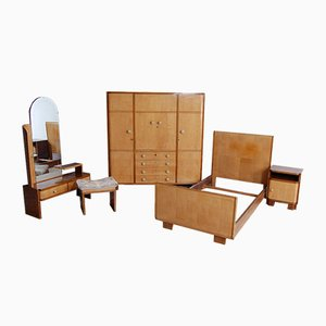 Art Deco Briarwood Complete Bedroom Set, 1930s, Set of 5