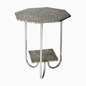 Modernist Terrazzo and Chrome Octagonal Table, 1930s