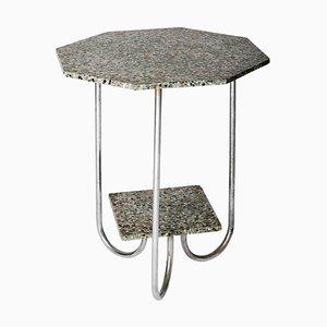 Modernistischer Achteckiger Tisch aus Terrazzo & Chrom, 1930er