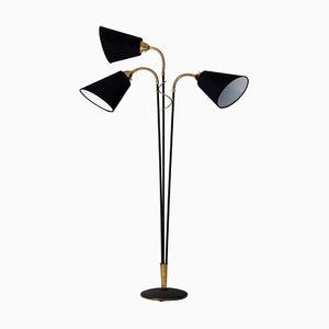 Mid-Century Scandinavian Modern Brass 3-Light Floor Lamp