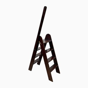 Vintage Mahogany Folding Library Step Ladder