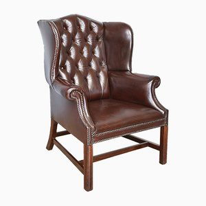 Deep Buttoned Leather Wing Chair, 1930s