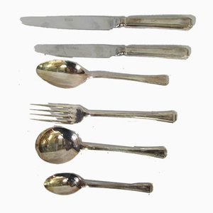 English Household Silver-Plated Metal Cutlery, 1970s, Set of 44