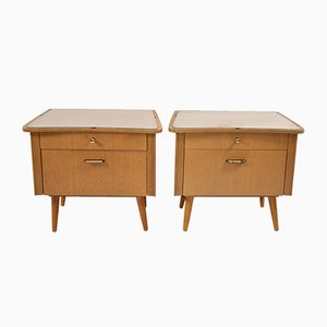German Bedside Tables with Glass Top, 1960s, Set of 2