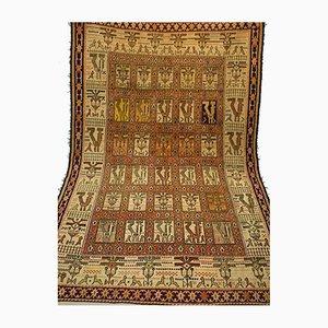 Vintage Middle Eastern Handwoven Silk Kilim Carpet