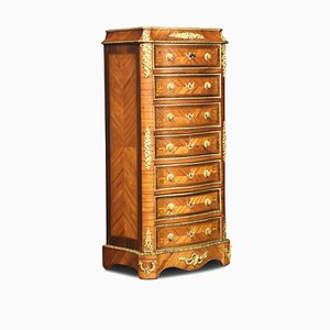 19th Century Kingwood and Serpentine Fronted Tall Chest of Drawers