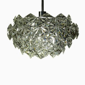 5-Tier Chandelier in Crystal Glass with Chrome-Plated Mount from Kinkeldey, 1960s