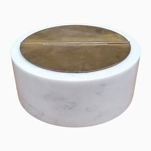 Large White Marble and Brass Model 0G7 Ashtray by Luigi Caccia Dominioni for Azucena, 1950s