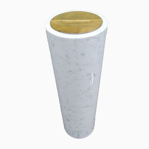 Small White Marble & Brass Model 0G7 Floor Ashtray by Luigi Caccia Dominioni for Azucena, 1950s