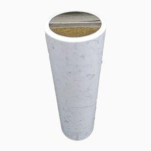 Small White Marble & Brass Model 0G7 Floor Ashtray by Luigi Caccia Dominioni for Azucena, 1950s
