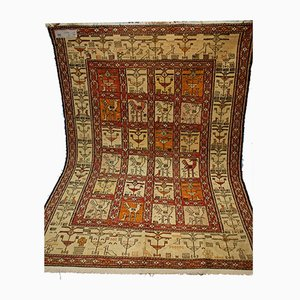 Vintage Middle Eastern Handwoven Silk Kilim Carpet