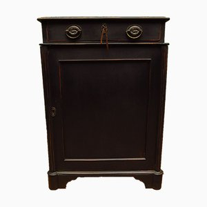 Antique Black Painted Cabinet with Internal Drawers