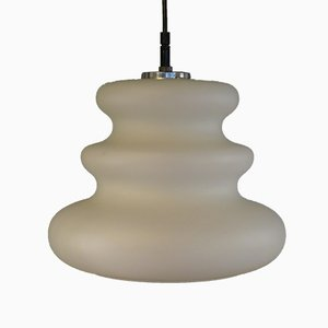 Mid-Century White Glass Ceiling Lamp from Peill & Putzler, 1960s