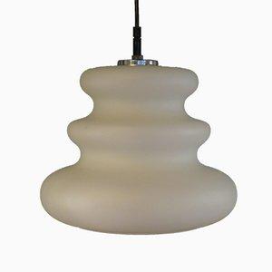 Weiße Mid-Century Glas Deckenlampe von Peill & Putzler, 1960er