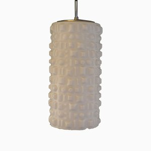 Space Age White Glass Ceiling Lamp with Embossed Geometric Pattern from Staff, 1970s