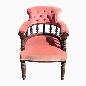 Antique Mahogany and Pink Upholstery Tub Chair, 1910s