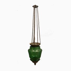 Lampe à Suspension Antique Liberty en Verre Vert et Bronze, 1920s