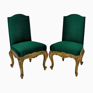 Chaises d'Appoint Antiques en Bois Doré, Espagne, Set de 2
