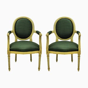 Vintage Louis XV Style French Gilded Armchairs, 1950s, Set of 2