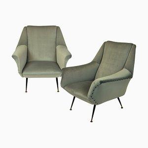 Mid-Century Armlehnstühle im Stile von Gio Ponti, 2er Set