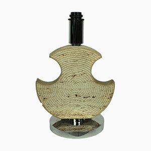 Italienische Mid-Century Chrom und Travertin Tischlampe